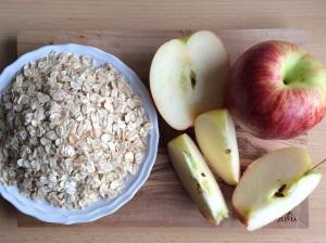 Zutaten für vegane Cookies Apfel Haferflocken