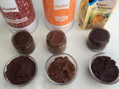 Vergleich Xuker Zucker Nutella vegan